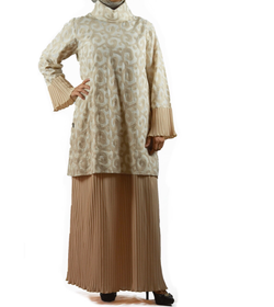 Pleated beige dress
