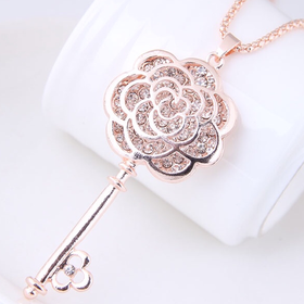 Rose key necklace