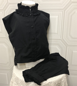 Black collar and sleeves set