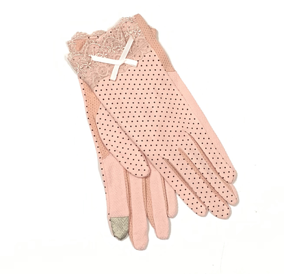 Dotted long cotton gloves