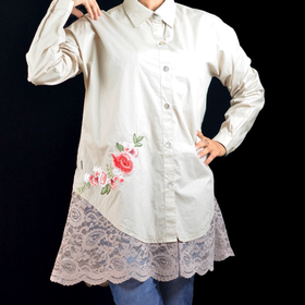 Cotton and lace shirt