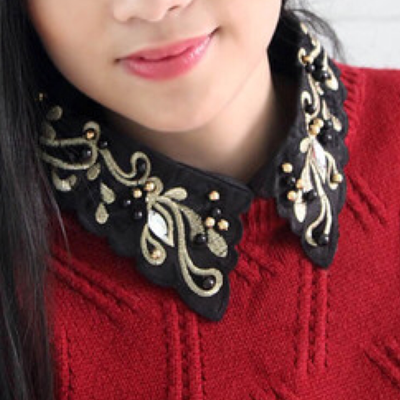 Golden embroidered collar
