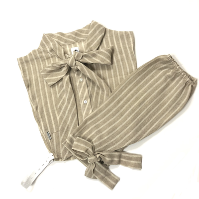 Linen stripped collar and sleeve set