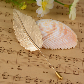Golden Feather brooch pin